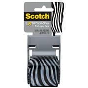 "Scotch® Decorative Shipping Packing Tape, Black/White Zera 1.88"" x 13.8 Yd."