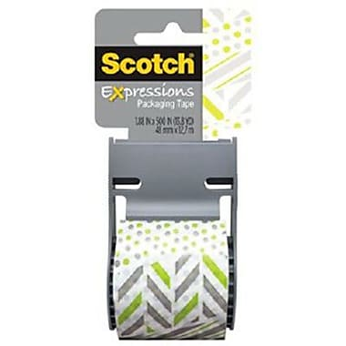 Scotch® Decorative Shipping Packing Tape, Green/White Zig Zag, 1.88