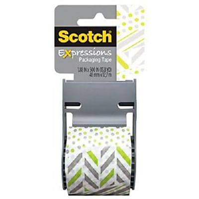 Scotch® Decorative Shipping Packing Tape, Green/White Zig Zag, 1.88