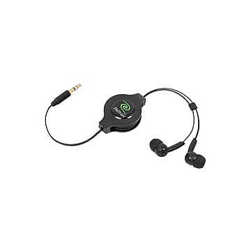 ReTrak Retractable Stereo Headphones, Black (ETAUDIOBLK)