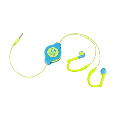 Retrak™ ETAUDWBUYE Retractable Earbuds, Neon Blue/Yellow