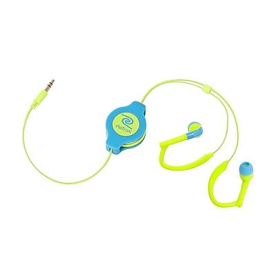 Retrak™ ETAUDWBUYE Retractable Earbuds, Neon Blue/Yellow