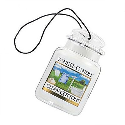 Yankee Candle Ultimate Car Jar Air Freshener, Clean Cotton, 0.1 oz. (1300910)