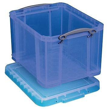 Really Useful Box® 32 Liter Snap Lid Storage Bin, Transparent Blue (9L TB)