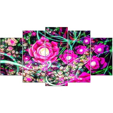 Designart Fuschia Flowers 5-Panel Modern Canvas Art Print, (PT3385-373)