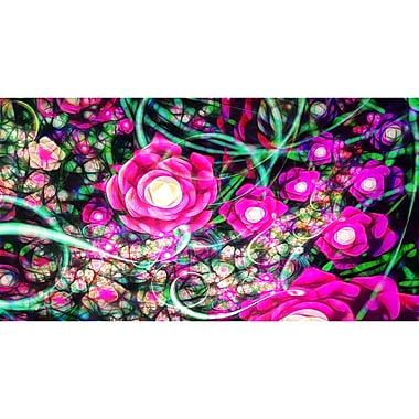 Designart Fuschia Flowers Modern Canvas Art Print, (PT3385-32-16)