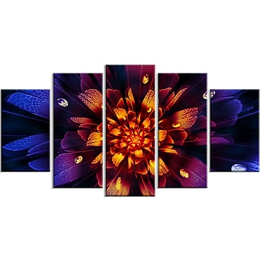 Designart Glow from Wit 5-Panel Floral Canvas Art Print, (PT3388-373)
