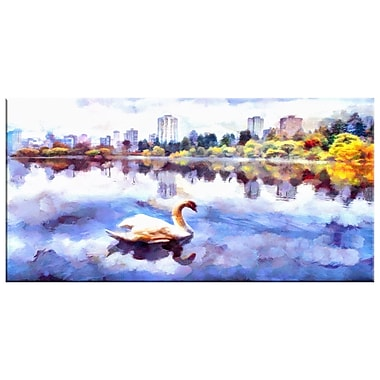 Designart Swan Lake in the City Canvas Art Print, (PT2103-32-16)