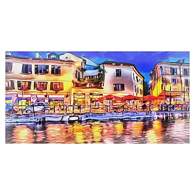Designart Cafe on the French Riviera Gallery-wrapped Canvas Art, (PT2039)