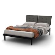 Amisco – Grand lit plateforme en métal 60 po Delaney et tête de lit rembourrée, métal noir/gris clair (14352-60PFLC/25HPF4)
