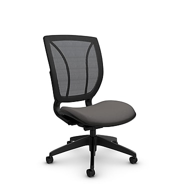 Global® (1901 IM82 WG) Roma Armless Posture Office Chair, Imprint Graphite Fabric, Grey w/ Grey Mesh