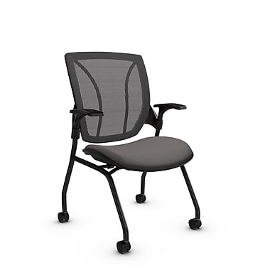 Global® (1899 IM82 WG) Roma Mesh Guest & Reception Chair, Imprint Graphite Fabric, Grey w/ Grey Mesh