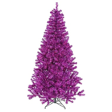 Vickerman 7' Purple Artificial Christmas Tree w/ 500 Purple Mini Lights w/ Stand