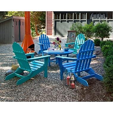 POLYWOOD Classic Folding Conversation Adirondack 5-Piece Seating Group; Pacific Blue / Aruba