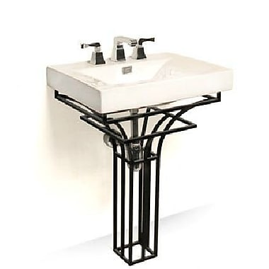 D'Vontz Iron Virtus 24'' Single Pedestal Bathroom Vanity Set; Black Iron