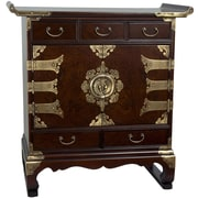Oriental Furniture Korean 5 Drawer End Table Accent Cabinet