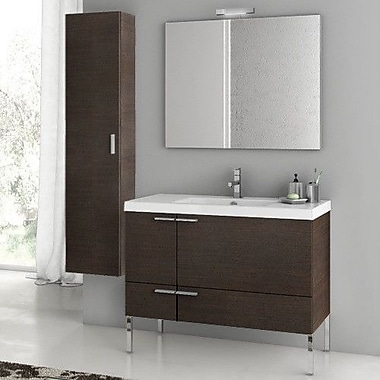 ACF New Space 39.2'' Single Bathroom Vanity Set w/ Mirror; Wenge