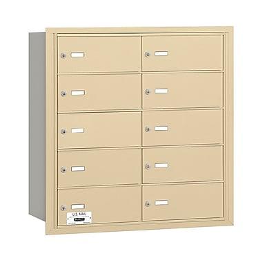 Salsbury Industries 10 Door Rear Load 4B Horizontal Mail Center; Sandstone