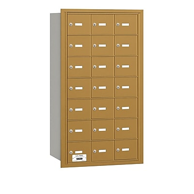 Salsbury Industries 21 Door Rear Load 4B Horizontal Mail Center; Gold