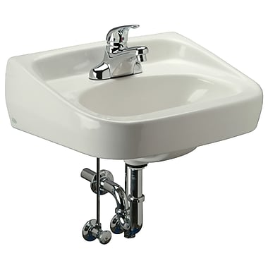 Zurn Standard Arm Ceramic 22'' Wall Mount Bathroom Sink w/ Overflow; 4'' Centers