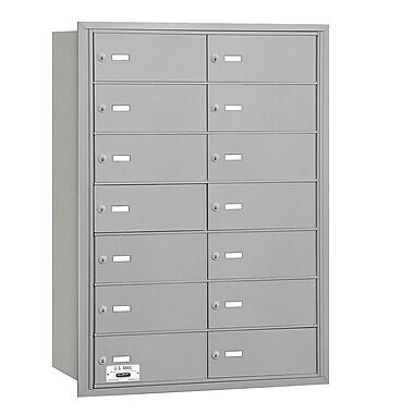 Salsbury Industries 14 Door Rear Load 4B Horizontal Mail Center; Aluminum