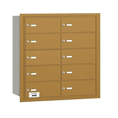 Salsbury Industries 10 Door Rear Load 4B Horizontal Mail Center; Gold
