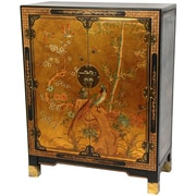 Oriental Furniture Nestling Birds Cabinet; Gold Leaf