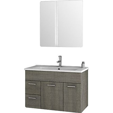 ACF Loren 32.7'' Single Bathroom Vanity Set w/ Mirror; Gray Oak Senlis