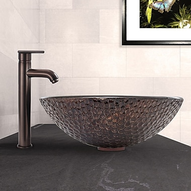 Vigo Shield Glass Circular Vessel Bathroom Sink w/ Faucet