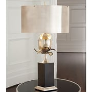 Global Views Egg and Palm 37.5'' Buffet Lamp; Antique Silver / Nickel