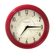AdecoTrading Vintage-Inspired 9.8'' Round Large Numbers Wall Hanging Clock; Red