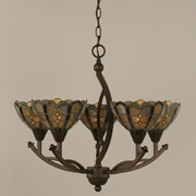 Toltec Lighting Bow 5-Light Shaded Chandelier; 20.25'' H x 22.5'' W x 22.5'' D