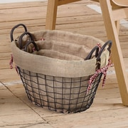 AdecoTrading 3 Piece Oval Shaped Rustic Style Multi Purpose Basket Set