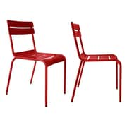 R bmin Luxembourg Stacking Side Chair (Set of 2); Red