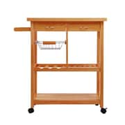 HomCom Kitchen Cart w/ Wood Top