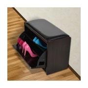 HomCom Storage Entryway Bench; Dark Walnut/Black