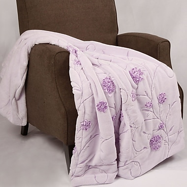 BOON Throw & Blanket Embroidered Ribbon Faux Fur Throw; Lilac