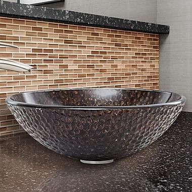 Vigo Glass Vessel Bathroom Sink; Copper Shield