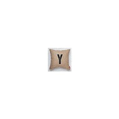 Posh365 Alphabet Letter ''Y'' Decorative Burlap Throw Pillow