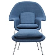 NyeKoncept Saro Lounge Chair and Ottoman; Dodger Blue