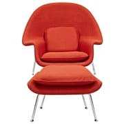 NyeKoncept Saro Lounge Chair and Ottoman; Lava Red