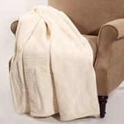 BOON Throw & Blanket Quilted Flannel Fleece Throw; Antique White