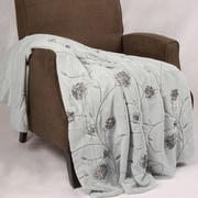 BOON Throw & Blanket Embroidered Ribbon Faux Fur Throw; Light Blue