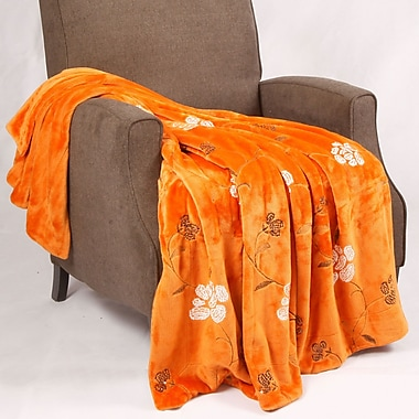 BOON Throw & Blanket Sequin Embroidered Polyester Throw Blanket; Burnt Orange