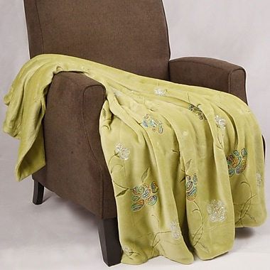 BOON Throw & Blanket Sequin Embroidered Polyester Throw Blanket; Green