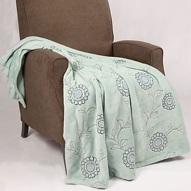 BOON Throw & Blanket Sequin Embroidered Polyester Throw Blanket; Harbor Gray