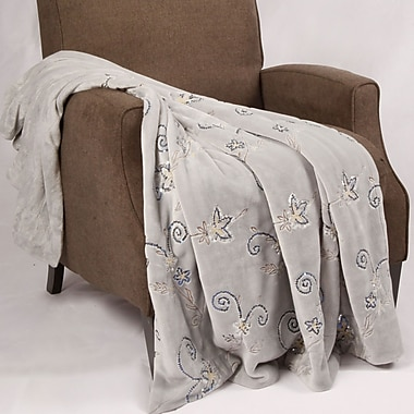BOON Throw & Blanket Sequin Embroidered Polyester Throw Blanket; Silver Gray