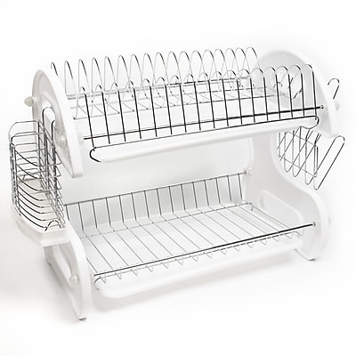 Sweet Home Collection Home Basics 5 Piece 2 Tier Kitchen Sink Dish Drainer Set WYF078277986219