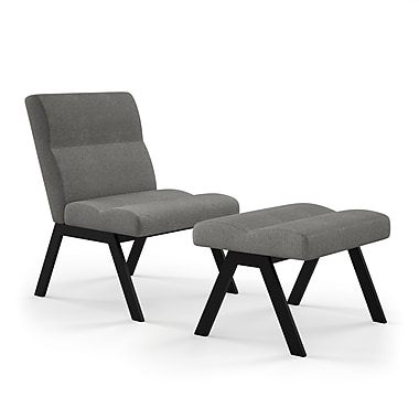 Amisco (32417-WE/1B25HFF4) Suburb Metal Accent Chair and Ottoman, Light Cold Grey/Metal Grey