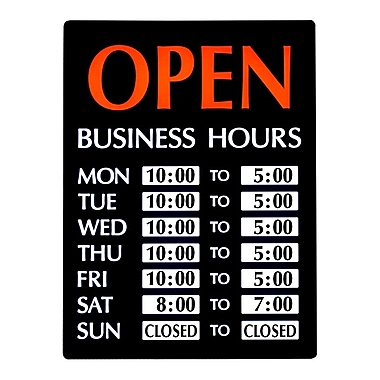Newon LED Lighted Open Sign with Business Hours, English